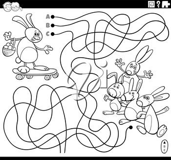 Black and white cartoon illustration of lines maze puzzle game with Easter Bunny character on skateboard coloring book page
