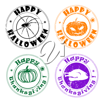 Royalty Free Photo of Halloween and Thanksgiving Stamps