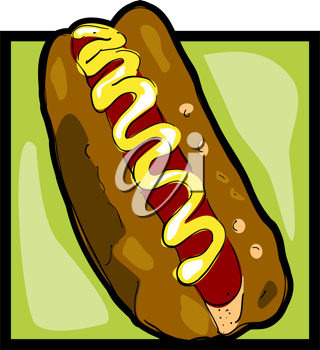 Royalty Free Clipart Image of a Hotdog Icon