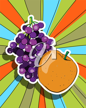 Royalty Free Clipart Image of a Pop Art Fruit Design