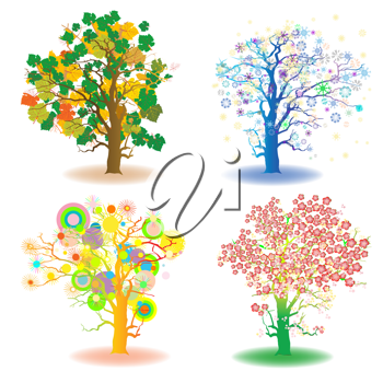 Royalty Free Clipart Image of Trees in Four Seasons