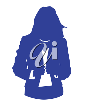 Graphic illustration of a woman in blue business suit as user icon, avatar