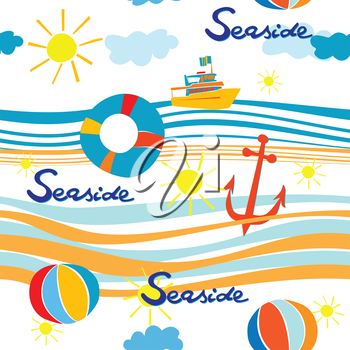 Seaside pattern with boat, life buoy, anchor and beach balls over waves