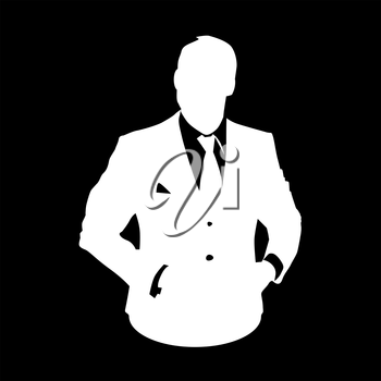Graphic illustration of a man in business suit as user icon, stencil avatar