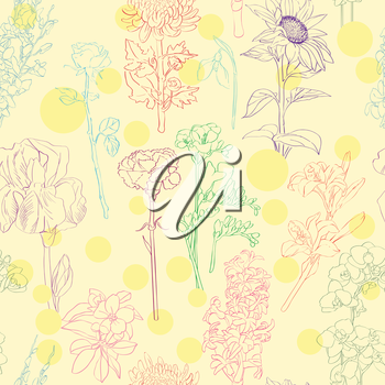 Floral pattern illustration, beautiful hand drawn color sketches of twelve different flowers over yellow background