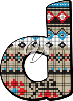 Decorated original font, pixel art ethnic model inspired by a Balkan motif over a funny fat small letter isolated on white