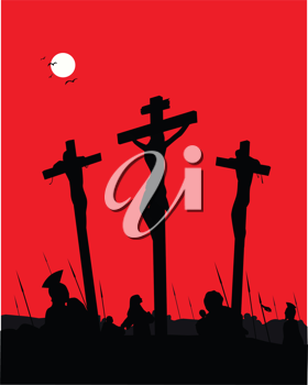 Royalty Free Clipart Image of the Crucifixion