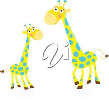 Royalty Free Clipart Image of Two Giraffes