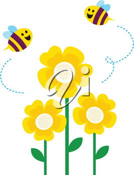 Royalty Free Clipart Image of Bees and Flowers