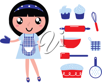 Royalty Free Clipart Image of a Girl With Cooking Items