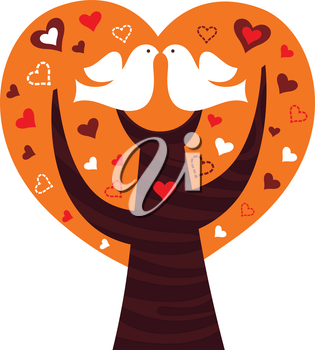 Tree of love for Valentine's Day. Vector Illustration