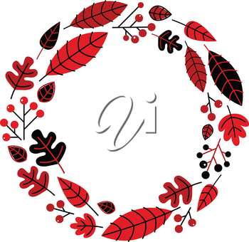 Retro christmas wreath with leaves and ashberry. Vector illustration