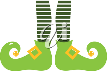 Retro elvish green legs with stripes. Vector