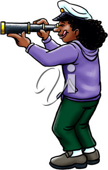 Royalty Free Clipart Image of a Girl Looking Through a Spyglass