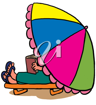Royalty Free Clipart Image of a Person Reading a Book Under a Beach Umbrella