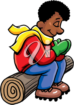 Royalty Free Clipart Image of a Man Praying on a Log