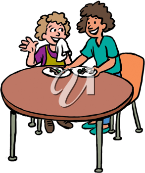 Royalty Free Clipart Image of Two Women Having a Meal
