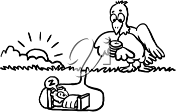 Royalty Free Clipart Image of a Bird Waiting for the Worm to Wake Up