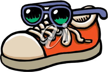 Royalty Free Clipart Image of a Sneaker and Sunglasses