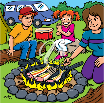 Royalty Free Clipart Image of an Unhappy Boy at a Fish Fry With a Woman and Girl