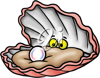Royalty Free Clipart Image of an Oyster and Pearl