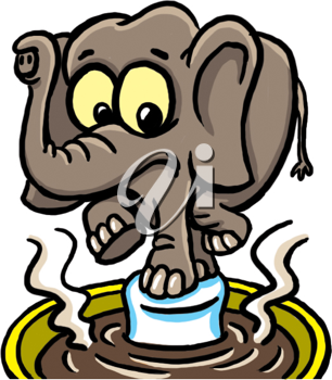 Royalty Free Clipart Image of an Elephant Balancing on a Marshmallow in Cocoa