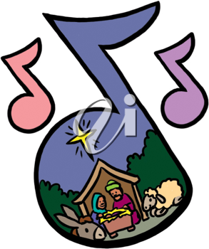 Royalty Free Clipart Image of the Nativity in Musical Notes