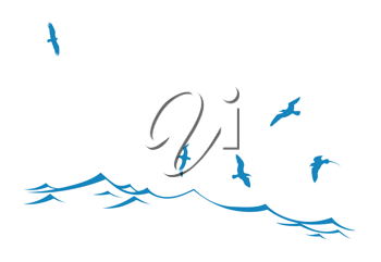 Royalty Free Clipart Image of Seagulls Above Water