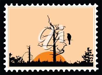 Royalty Free Clipart Image of a Bird Postage Stamp