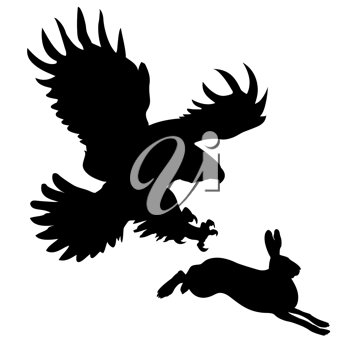 Royalty Free Clipart Image of a Bird Attacking a Hare
