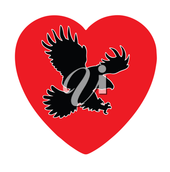 Royalty Free Clipart Image of a Bird in a Heart
