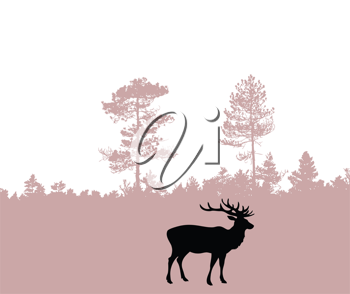 Royalty Free Clipart Image of Deer in a Forest
