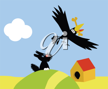 Royalty Free Clipart Image of a Bird Stealing a Dog's Bone