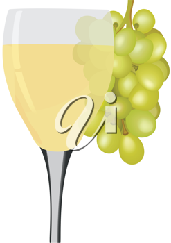 Royalty Free Clipart Image of a Wine Goblet and Grapes