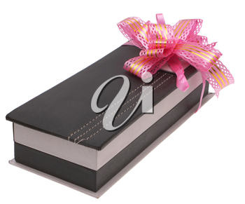 The box is decorated with gift bow on a white background.