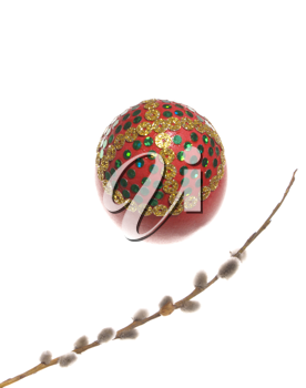 Easter egg with the Willow branch, on a white background.