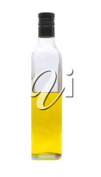 Food oil in a bottle on a white background.