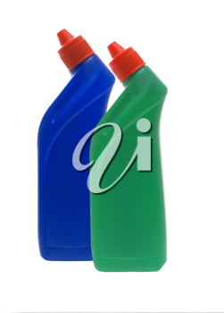 Washing-up liquids in bottles on a white background.