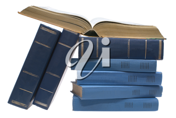 Open book and books on a white background.