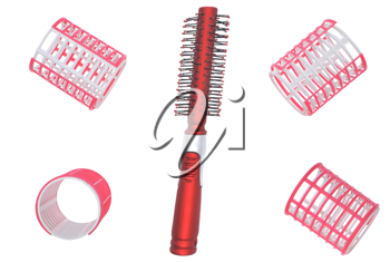 Hair curlers and hairbrush on a white background.