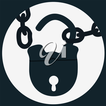 Unlock  with chain circle in the square icon, flat design style, EPS8 - vector graphics.