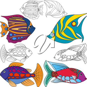 Set kids coloring abstract fish, EPS8 - vector graphics.