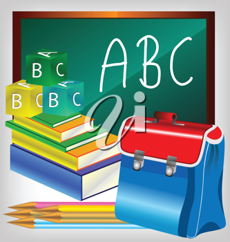 Royalty Free Clipart Image of a Blackboard and School Supplies