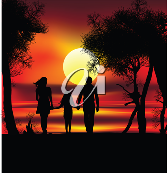 Royalty Free Clipart Image of a Family Walking at Sunset on the Beach