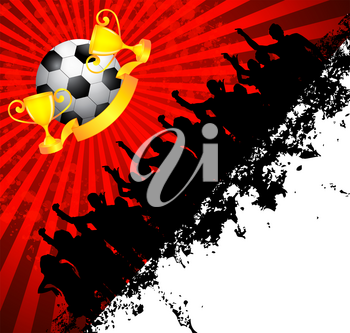 Royalty Free Clipart Image of a Soccer Ball With Trophies and Cheering People