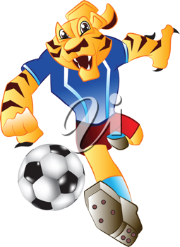 Royalty Free Clipart Image of a Tiger Kicking a Soccer Ball
