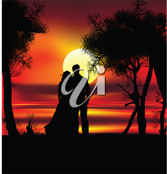 Royalty Free Clipart Image of Two Silhouettes on a Beach at Sunset