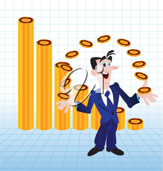 Royalty Free Clipart Image of a Man Juggling Money With a Graph Behind Him