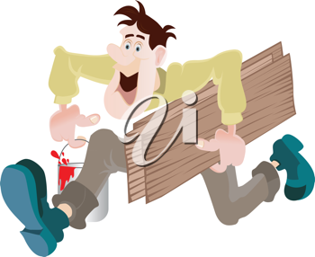 Royalty Free Clip art Image of a Man Running With a Paint Can and Wood