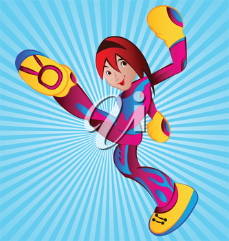 Royalty Free Clipart Image of a Female Superhero